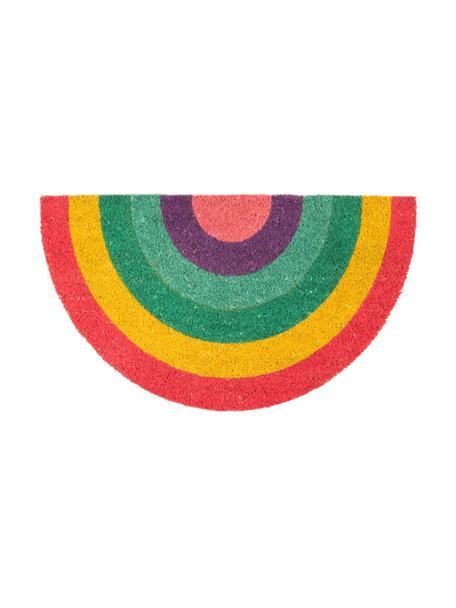 Felpudo Rainbow, Parte superior: fibras de coco, Reverso: PVC, Multicolor, An 40 x L 70 cm
