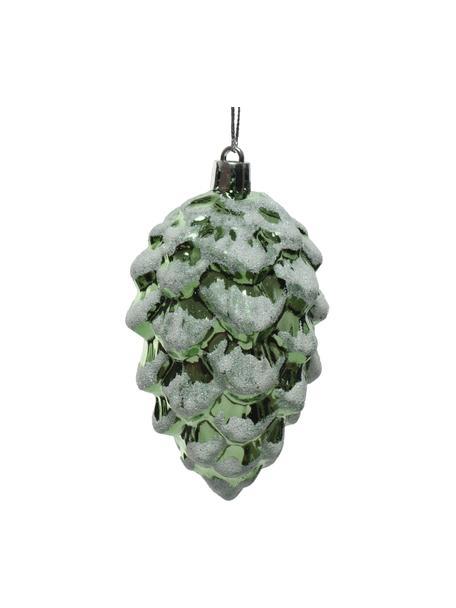 Adornos navideños irrompibles Zapfen, 4uds., Adornos: plástico, Verde, blanco, Ø 5 x Al 9 cm