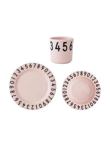 Komplet śniadaniowy Numbers, 3 elem., Melamina, Blady różowy, czarny, S 22 x W 7 cm