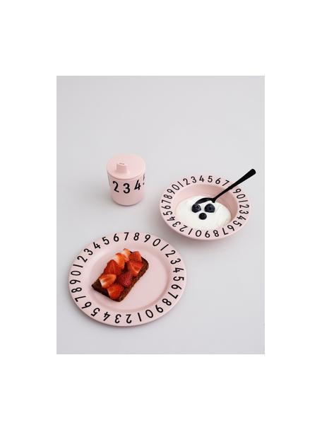 Set de desayuno Numbers, 3pzas., Melamina, Rosa, negro, An 21 x Al 7 cm