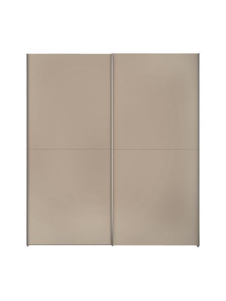 Kledingkast Oliver met schuifdeuren in beige, Frame: panelen op houtbasis, gel, Beige, 202 x 225 cm