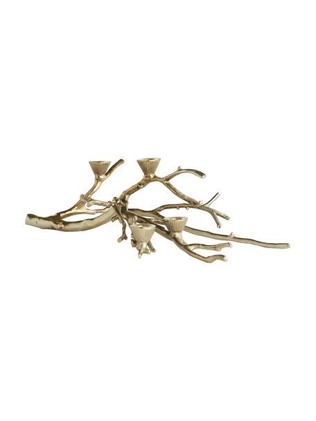 Ręcznie wykonany świecznik Aurelia, Aluminium powlekane, Odcienie złotego, S 57 x W 16 cm