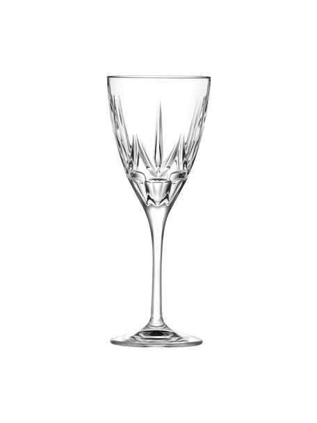Copas de vino blanco de cristal con relieve Chic, 6uds., Cristal Luxion, Transparente, Ø 8 x Al 21 cm