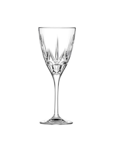 Kristall-Weissweingläser Chic mit Relief, 6 Stück, Luxion-Kristallglas, Transparent, Ø 8 x H 21 cm