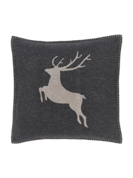 Fleece kussenhoes met hert in grijs, 85% katoen, 8% viscose, 7% polyacryl, Antraciet, beige, 50 x 50 cm