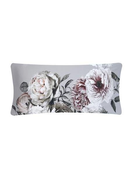 Fundas de almohada de satén Blossom,2uds., 45x110cm, Gris, An 45 x L 110 cm