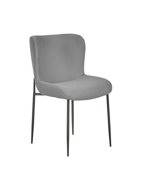 Krzesło tapicerowane Tess, Tapicerka: poliester Dzięki tkaninie, Nogi: metal malowany proszkowo, Szary, czarny, S 49 x W 84 cm