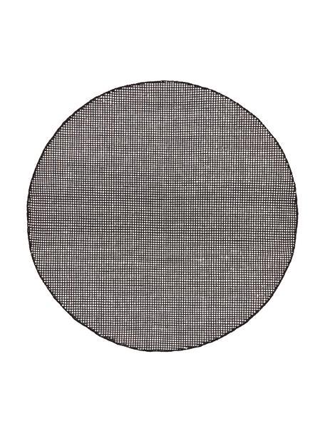 Rond wollen vloerkleed Amaro in zwart/crèmekleur, handgeweven, Bovenzijde: 100% wol, Onderzijde: 100% katoen Bij wollen vl, Zwart, crèmewit, Ø 140 cm (maat M)