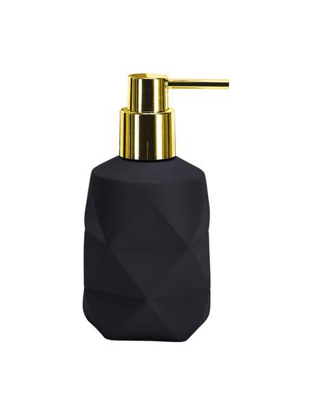 Dozownik do mydła z poliresingu Crackle, Czarny, Ø 8 x W 17 cm