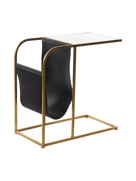 Tavolino in metallo con piano in vetro e portariviste Clair, Struttura: metallo, verniciato a pol, Piano d'appoggio: vetro, Nero, dorato, trasparente, Larg. 60 x Alt. 62 cm