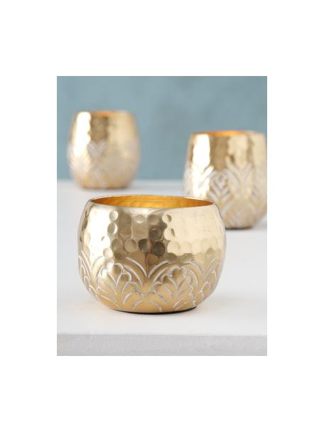 Komplet świeczników na podgrzewacze Layra, 3 elem., Aluminium powlekane, Odcienie złotego, Komplet z różnymi rozmiarami