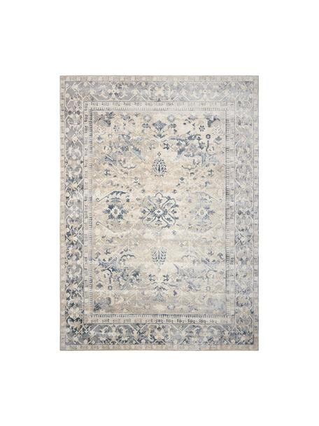 Vintage Teppich Malta in Blau-Beige, 90% Polypropylen, 10% Chenille, Elfenbeinfarben, Blautöne, B 160 x L 230 cm (Grösse M)