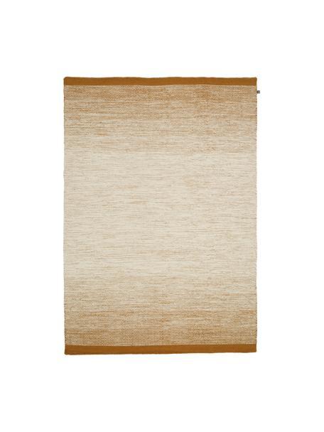Tappeto in lana con sfumatura beige/gialla tessuto a mano Lule, 70% lana, 30% cotone Nel caso dei tappeti di lana, le fibre possono staccarsi nelle prime settimane di utilizzo, questo e la formazione di lanugine si riducono con l'uso quotidiano, Giallo ocra, beige, Larg. 140 x Lung. 200 cm (taglia S)