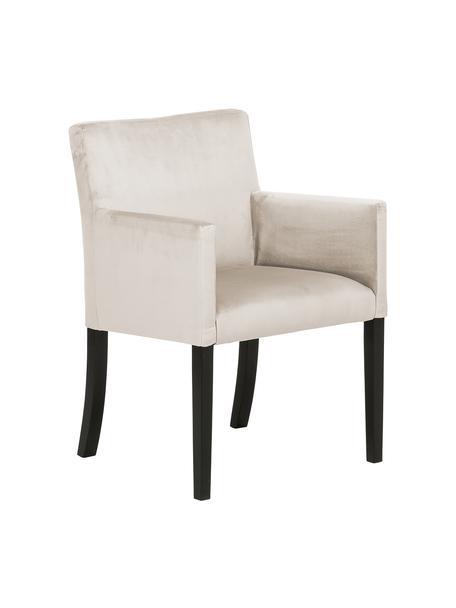Sedia con braccioli in velluto beige Boston, Rivestimento: velluto (rivestimento in , Gambe: legno di faggio massello , Rivestimento: beige Gambe: nero, Larg. 60 x Prof. 60 cm