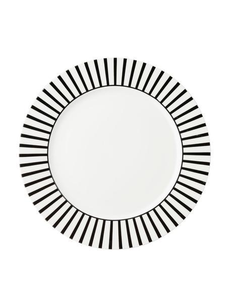 Platos llanos Ceres Loft, 4uds., Porcelana, Blanco, negro, Ø 26 x Al 2 cm