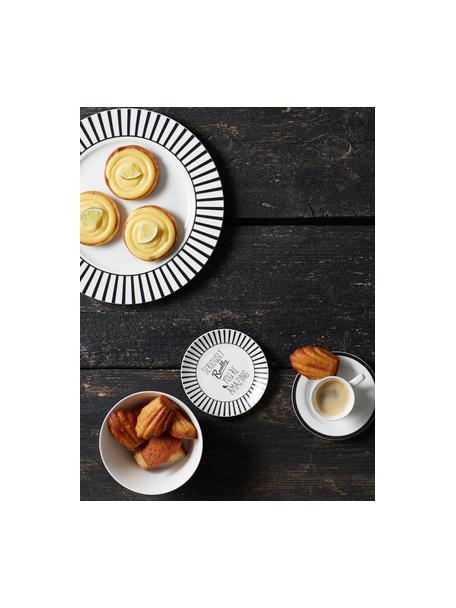 Dinerborden Ceres Loft met streepdecoratie in zwart / wit, 4 stuks, Porselein, Wit, zwart, Ø 26 x H 2 cm