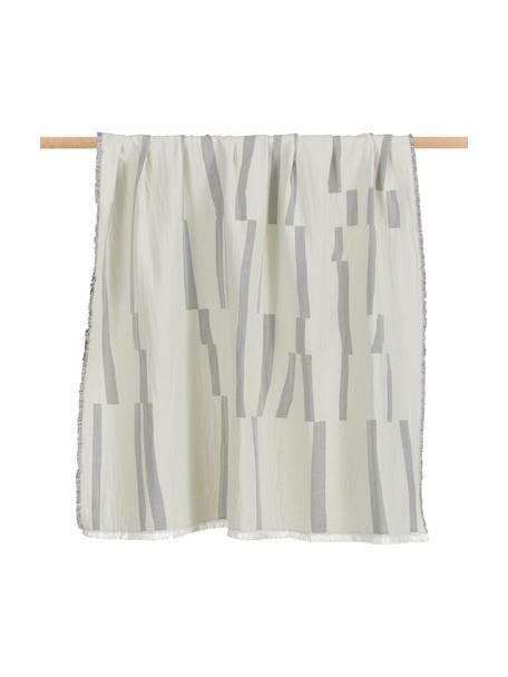 Manta de algodón con flecos Lyme, 100%algodón ecológico, Gris, blanco crema, An 130 x L 180 cm