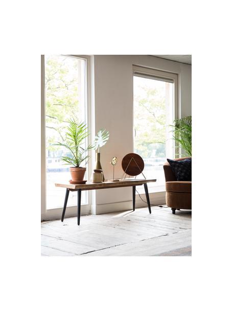 Banco Alagon, reborde de madera, Asiento: tablero de fibras de dens, Patas: acero, pintura en polvo, Nogal, An 140 x Al 45 cm