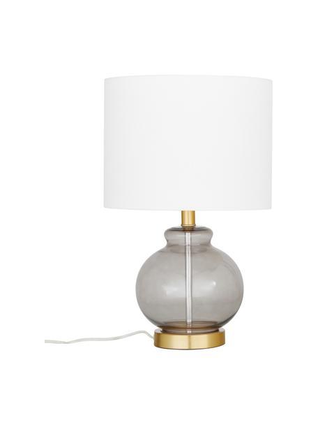 Lámpara de mesa de vidrio Natty, Pantalla: tela, Cable: plástico, Blanco, gris azulado, transparente, Ø 31 x Al 48 cm