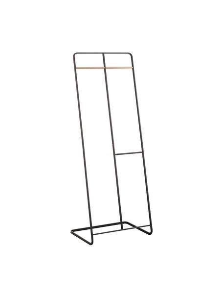 Metall-Kleiderständer Towi in Schwarz, Gestell: Metall, pulverbeschichtet, Stange: Holz, Schwarz, 61 x 163 cm