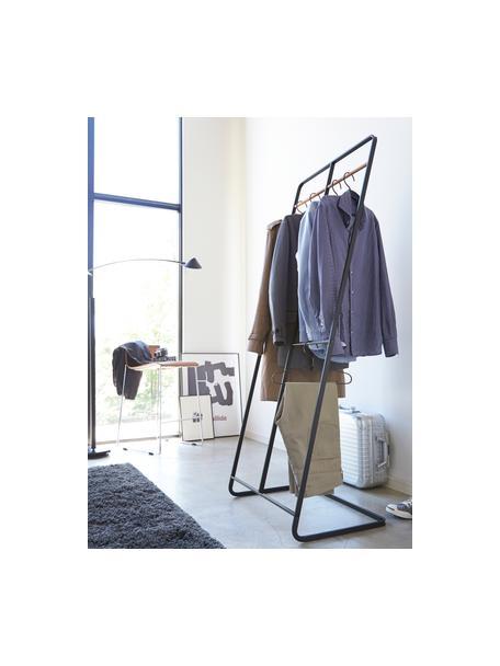 Metalen kledingrek Towi in zwart, Frame: gepoedercoat metaal, Stang: hout, Zwart, 61 x 163 cm