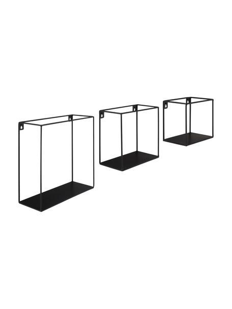 Mini Wandregal 3er-Set Nils in Schwarz, Metall, pulverbeschichtet, Schwarz, Set mit verschiedenen Grössen