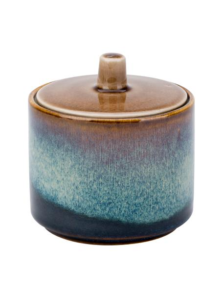 Azucarero artesanal de porcelana Quintana, Porcelana, Tonos azules y marrones, Ø 8 x Al 9 cm