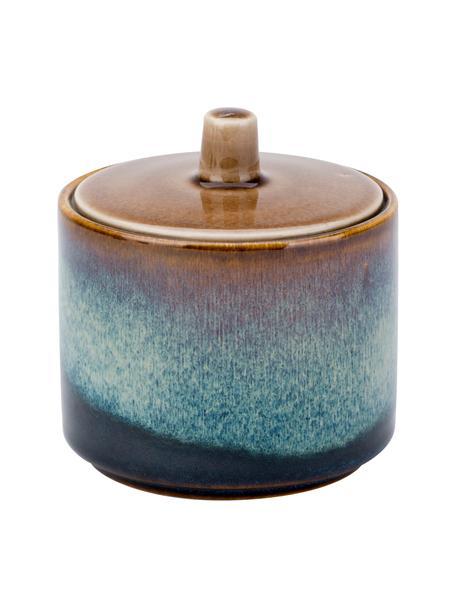 Zuccheriera fatta a mano in porcellana Quintana Blue, Porcellana, Tonalità blu e marroni, Ø 8 x Alt. 9 cm
