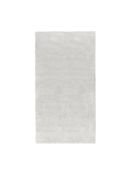 Pluizig hoogpolig vloerkleed Leighton in lichtgrijs, Bovenzijde: 100% polyester (microveze, Onderzijde: 70% polyester, 30% katoen, Lichtgrijs, B 60 x L 110 cm (maat XXS)