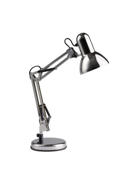Grote bureaulamp Henry, Lampenkap: metaal, Lampvoet: metaal, Chroomkleurig, 16 x 50 cm