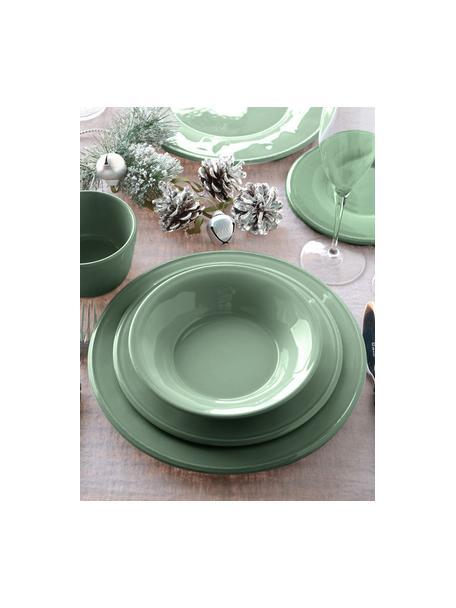 Talerz śniadaniowy Constance, 2 szt., Kamionka, Szałwiowy zielony, Ø 24 cm