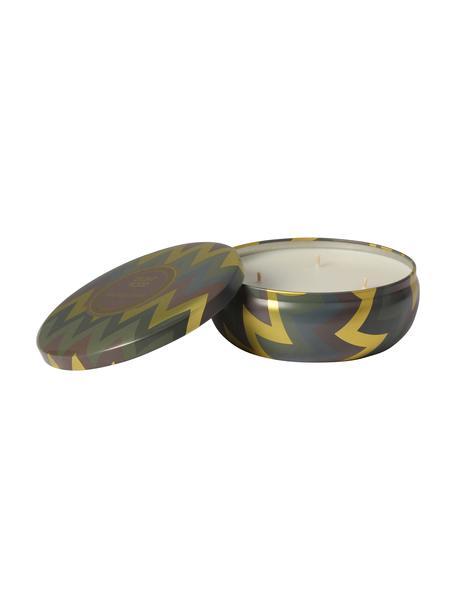 3-lonts-geurkaars Hanneke (perzikkleurig, bergamot & meloen), Houder: metaal, Goudkleurig, bruin, groen, Ø 13 x H 6 cm