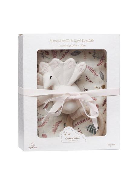 Komplet prezentowy z bawełny organicznej Pressed Leaves, 2 elem., Tapicerka: 100% bawełna organiczna, Blady różowy, wielobarwny, S 18 x W 21 cm
