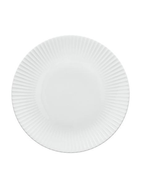 Piatto piano in porcellana con rilievo scanalato Nala 2 pz, Fine Bone China (porcellana) Fine bone china è una porcellana a pasta morbida particolarmente caratterizzata dalla sua lucentezza radiosa e traslucida, Bianco, Ø 26 cm