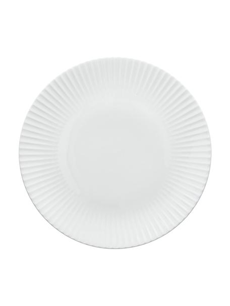 Speiseteller Radius aus Porzellan mit Rillenrelief, 2 Stück, Fine Bone China (Porzellan) Fine Bone China ist ein Weichporzellan, das sich besonders durch seinen strahlenden, durchscheinenden Glanz auszeichnet., Weiß, Ø 26 cm