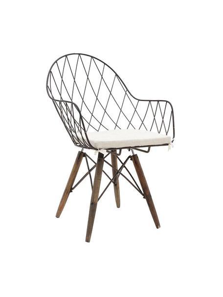 Silla Rusty, Metal, madera de abeto, poliéster, Negro, blanco, An 56 x Al 92 cm