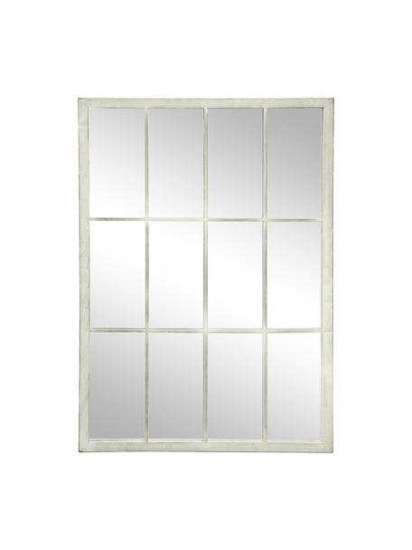 Eckiger Wandspiegel Zanetti mit weißem Metallrahmen, Rahmen: Metall, lackiert, Spiegelfläche: Spiegelglas, Weiß, 50 x 70 cm