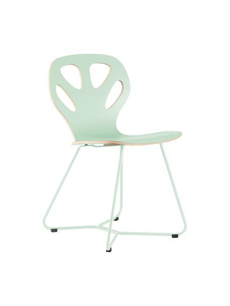 Krzesło z drewna Maple, Stelaż: stal malowana proszkowo, Zielony miętowy, S 51 x G 49 cm