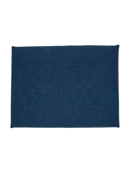 Baumwoll-Badvorleger Hammam mit Hoch-Tief-Muster, 100% Baumwolle, schwere Qualität, 1700 g/m², Dunkelblau, 60 x 80 cm