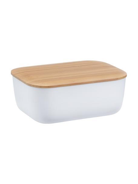 Butterdose Box-It, Dose: Melamin, Deckel: Bambus, Weiss, Bambus, 15 x 7 cm