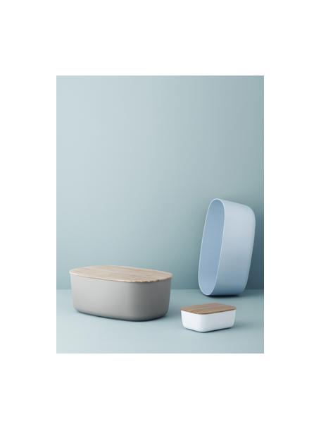 Botervloot Box-It in wit met bamboe deksel, Deksel: bamboehout, Wit, bamboehoutkleurig, 15 x 7 cm
