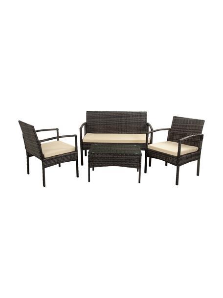 Garten-Lounge-Set Buni, 4-tlg., Gestell: Kunstrattan, Bezug: Stoff, Tischplatte: Glas, Grau, Set mit verschiedenen Größen