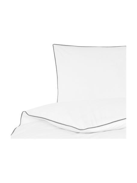 Pościel z perkalu z lamówką Daria, Biały Wykończenie brzegów: ciemny szary, 135 x 200 cm