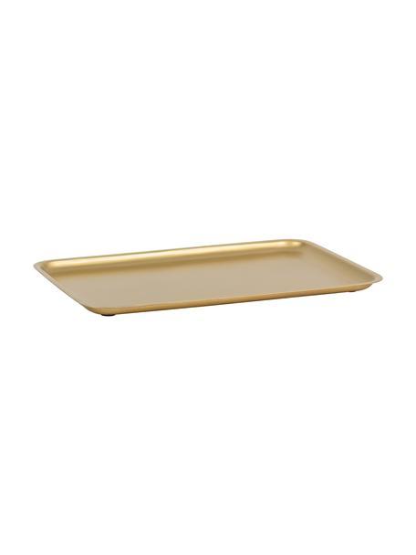 Dienblad Good Morning in goudkleur, L 34 x B 23 cm, Gecoat metaal, Messingkleurig, 23 x 34 cm