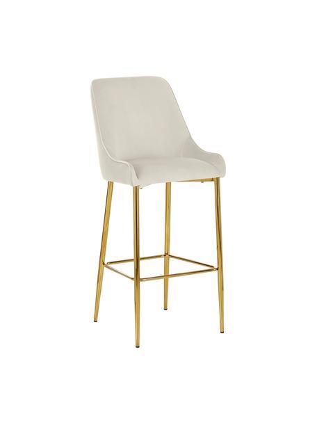 Fluwelen barstoel Ava in beige, Bekleding: fluweel (100% polyester), Fluweel beige, 48 x 107 cm