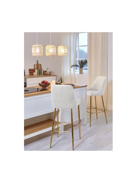 Fluwelen barstoel Ava met goudkleurige poten, Bekleding: fluweel (100% polyester), Fluweel beige, 48 x 107 cm