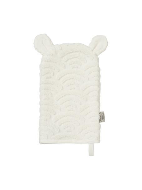 Guanto per bagnetto in cotone organico Wave, 100% cotone organico, Bianco latteo, Larg. 15 x Lung. 22 cm