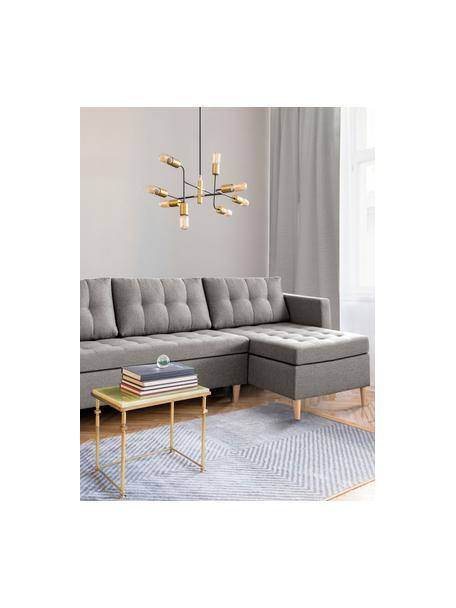 Sofá cama rinconero Fandy, plegable, Tapizado: poliéster Alta resistenci, Estructura: madera maciza, aglomerado, Patas: madera de haya, Tejido gris claro, An 223 x F 69 cm