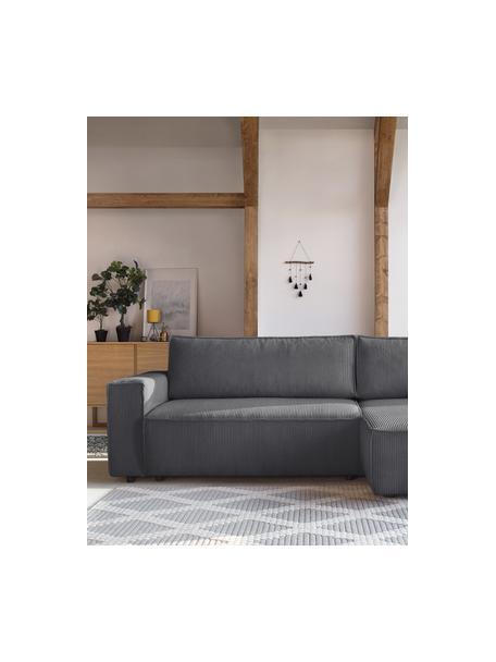 Modułowa sofa narożna ze sztruksu z funkcją spania i miejscem do przechowywania Nihad, Tapicerka: sztruks poliestrowy, Nogi: tworzywo sztuczne, Ciemnyszary, S 282 x G 153 cm