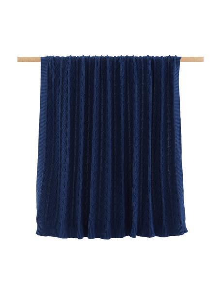 Gebreide plaid Caleb met kabelpatroon, 100% katoen, Blauw, 130 x 170 cm